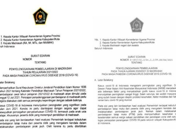 Surat Edaran Pembelajaran Di Madrasah Tahun Pelajaran 2021/2022